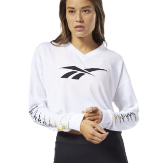 Remera Classic Leather V P Cropped Longlseeve white EB4257