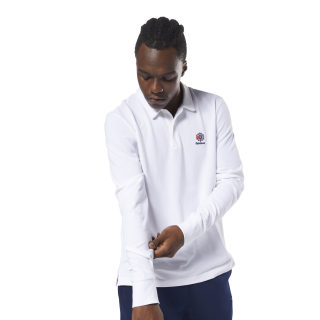 Koszulka polo Classics Foundation Long Sleeve White DH2058