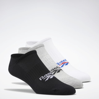 Classics Foundation Invisible Socks 3 Pairs White / Medium Grey Heather / Black FL9305