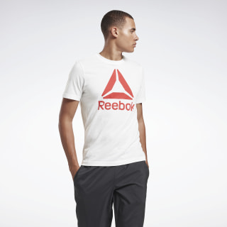 Camiseta QQR- Reebok Stacked White / Rebel Red EC2079
