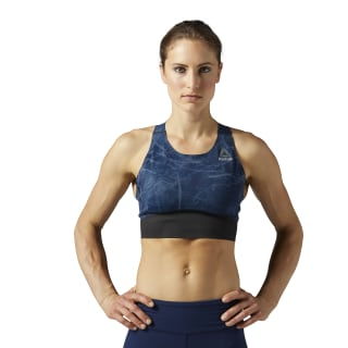 Reebok Combat Smoothgrip Fight Sports Bra Smoky Indigo BQ8009