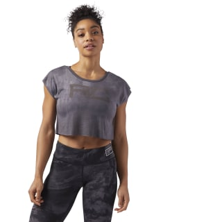CROP T-SHIRT COMBAT SPRAYDYE Powder Grey CE2576