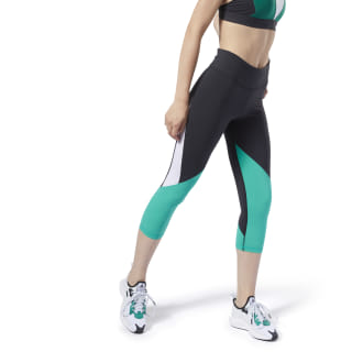 Reebok Lux 3/4 Colorblocked Tights 2.0 Black / Emerald DY8162