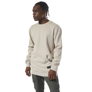 Noble Fight Sand Washed Knitted Crew Neck Parchment D96039