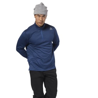 Double Knitted Quarter Zip Bunker Blue DH1934