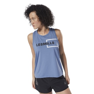 LES MILLS™ Perforated Tank Blue Slate DJ2222