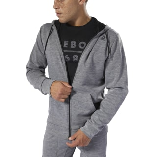 Bluza z kapturem WOR Melange Doubleknit Full-Zip Medium Grey Heather DU2158
