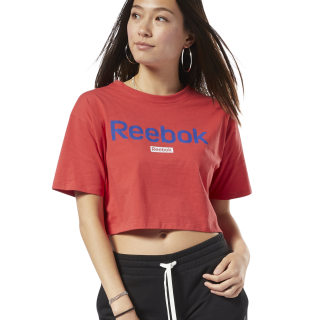 T-shirt crop avec logo linéaire Training Essentials Rebel Red FI2034