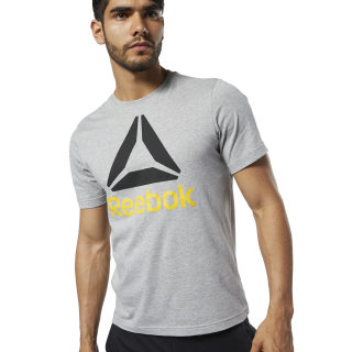 T-shirt QQR- Reebok Stacked Medium Grey Heather / Black EC2078