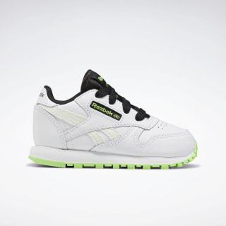 Classic Leather Shoes White / Solar Green / Black EH3234