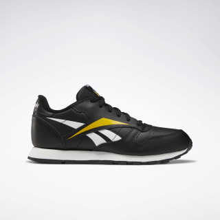 Classic Leather Shoes - Grade School Black / White / Toxic Yellow EF8533