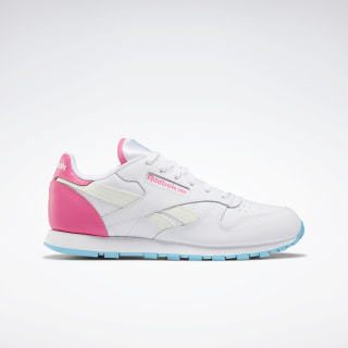 Classic Leather Shoes - Grade School White / Neon Blue / Solar Pink EH2792