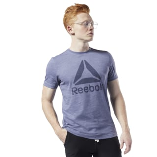 Training Essentials Marble Melange Tee Washed Indigo EC0785