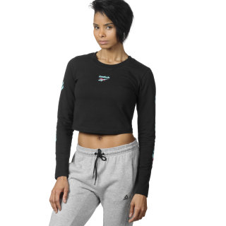 Maglia Cropped Long Sleeve Black DQ0069