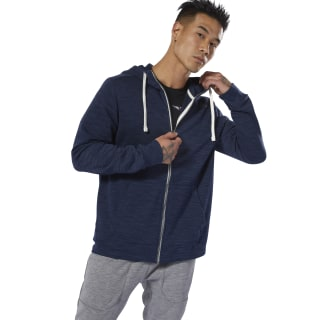 Sweat à capuche zip intégral à effet marbré Group Training Essentials Collegiate Navy DU3771