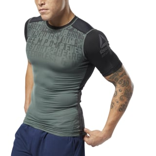 ACTIVCHILL Graphic Compression Tee Chalk Green D93805