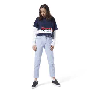 T-shirt crop Reebok Classics Collegiate Navy / White DH1322