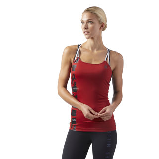 LES MILLS®™ Tank Top with Padded Sports Bra Rich Magma CD6212
