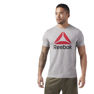 T-shirt QQR- Reebok Stacked Medium Grey Heather / Excellent Red CW5366