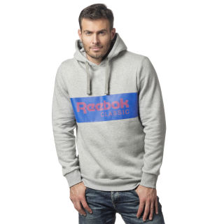 Classics R Uniseks Over-the-Head Hoodie Medium Grey Heather / Vital Blue DX0148