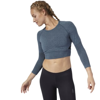 Reebok CrossFit® MyoKnit Cropped T-shirt Blue Hills / Black DQ0034