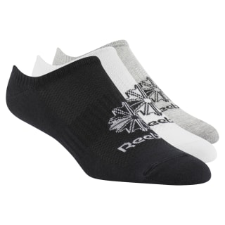 Classics Foundation Invisible Socks 3 Pairs White / Medium Grey Heather / Black DL8656