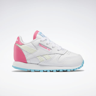 Classic Leather Shoes - Toddler White / Neon Blue / Solar Pink EH2825