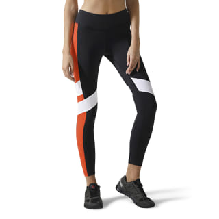 Reebok Lux Leggings - Colour Block Black / Carotene DW8080