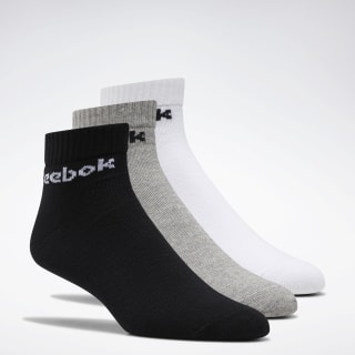 Active Core Ankle Socks 3 Pairs White / Black / Medium Grey Heather FL5228