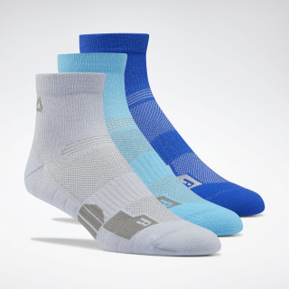 Training Ankle Socks Three Pack Denim Dust / Bright Cyan / Cobalt EC5642