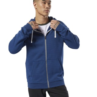 Bluza z kapturem Training Essentials Marble Full-Zip Bunker Blue CY4929