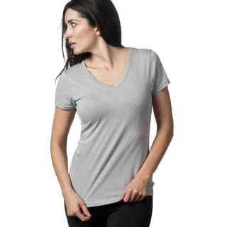 Reebok V-Neck T-Shirt Medium Grey Heather BQ2422