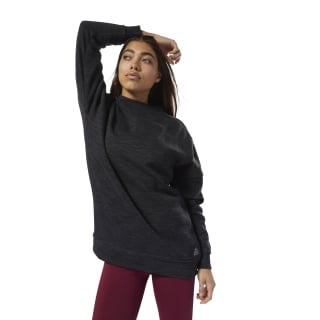 Training Essentials Gemarmerd Oversized Sweatshirt met Ronde Hals Black D95543