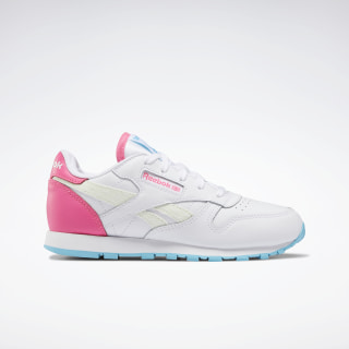 Classic Leather Shoes - Preschool White / Neon Blue / Solar Pink EH2804