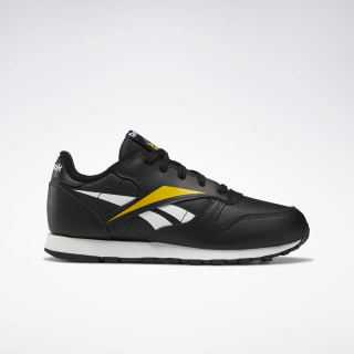Classic Leather Shoes Black / White / Toxic Yellow EF8634