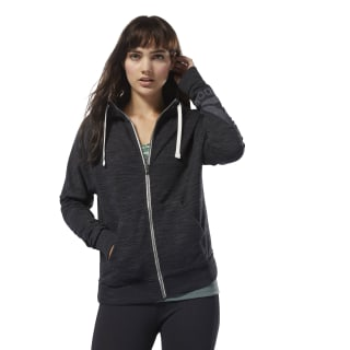 Sweat à capuche zip intégral à effet marbré Training Essentials Black D95545