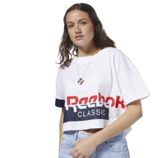 T-shirt crop Reebok Classics White / Collegiate Navy DH1321
