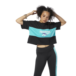 Camiseta Classics Vector Crop Black/Timeless Teal DX3811