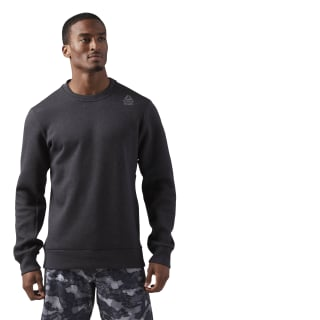 Reebok CrossFit Double Knit Crew Neck Top Black Melange CE2641