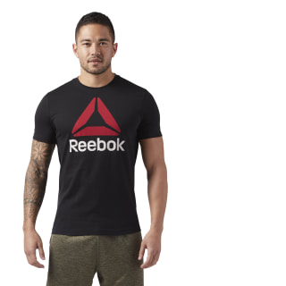 T-shirt QQR- Reebok Stacked Black / Excellent Red CW5368