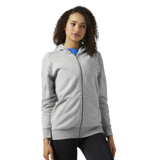 Reebok Classics Franchise Full Zip Hoodie Medium Grey Heather BQ2466
