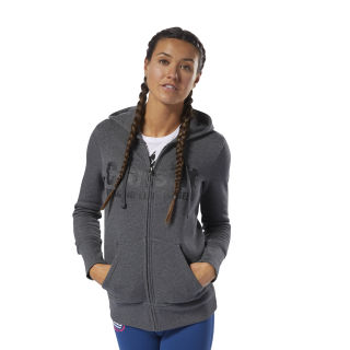 Reebok CrossFit Full Zip Hoodie Dark Grey Heather / Black DH3723