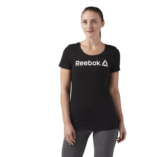 T-SHIRT REEBOK LINEAR READ SCOOP NECK Black / White CF4455
