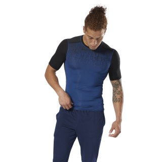 ACTIVCHILL Graphic Compression Tee Bunker Blue D93804