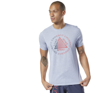 Camiseta CrossFit® MCurta Gola Careca Grafismo Speedwick Denim Dust Mel EC1385