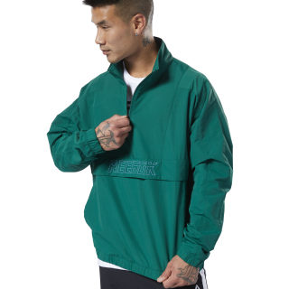 Meet You There Woven 1/2 Zip Clover Green EC0816