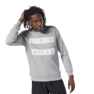LES MILLS™ Fleece Sweatshirt met Ronde Hals Medium Grey Heather DN5898