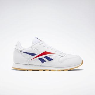 Classic Leather Shoes - Grade School White / Scarlet / Phantom Blue EF9153