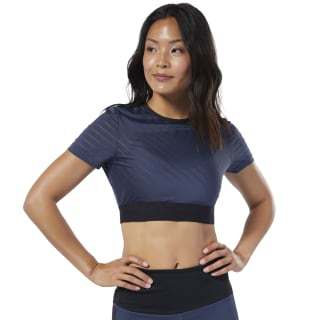 Studio Mesh Crop Top Heritage Navy EB8097