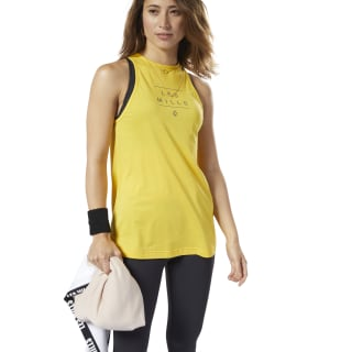 Koszulka bez rękawów LES MILLS® Tank Top Toxic Yellow / Medium Grey ED0572